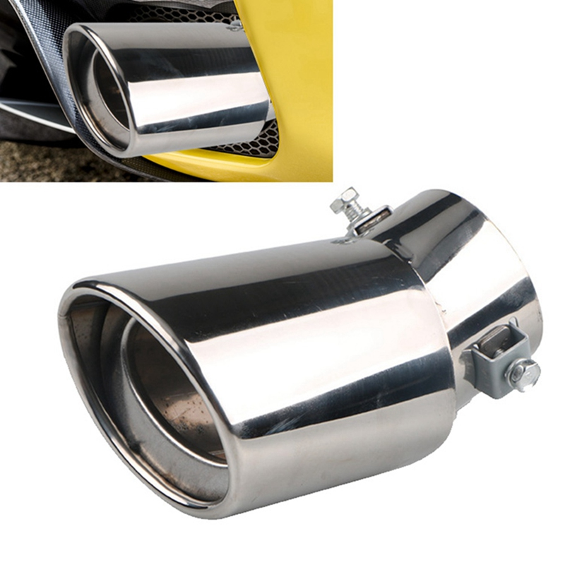 Silver Universal Chrome Stainless Steel Auto Car Exhaust Pipe Tail Muffler Tip