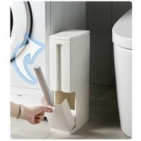 Narrow Plastic Trash Can Set with Toilet Brush Home Bathroom Waste Bin Dustbin Trash Cans Garbage Bucket Garbage Bag Dispenser Storage Shelves & Racks    -