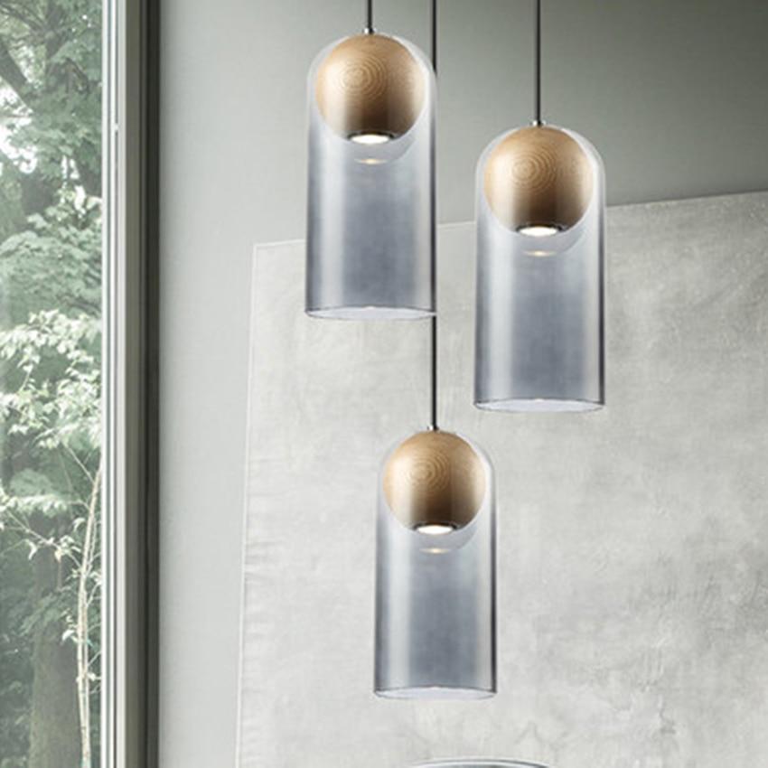 Modern LED Pendant Lights Wood Art Glass Pendant Lamp Lighting Nordic Loft Cafe Bar Living Room Lamp Bedroom Deco Light Fixtures