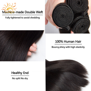 Image 5 - Straight Hair Bundles With Closure Peruvian Hair Weave Bundles With Closure Sunlight Human Hair Bundles Non Remy Hair Extensions