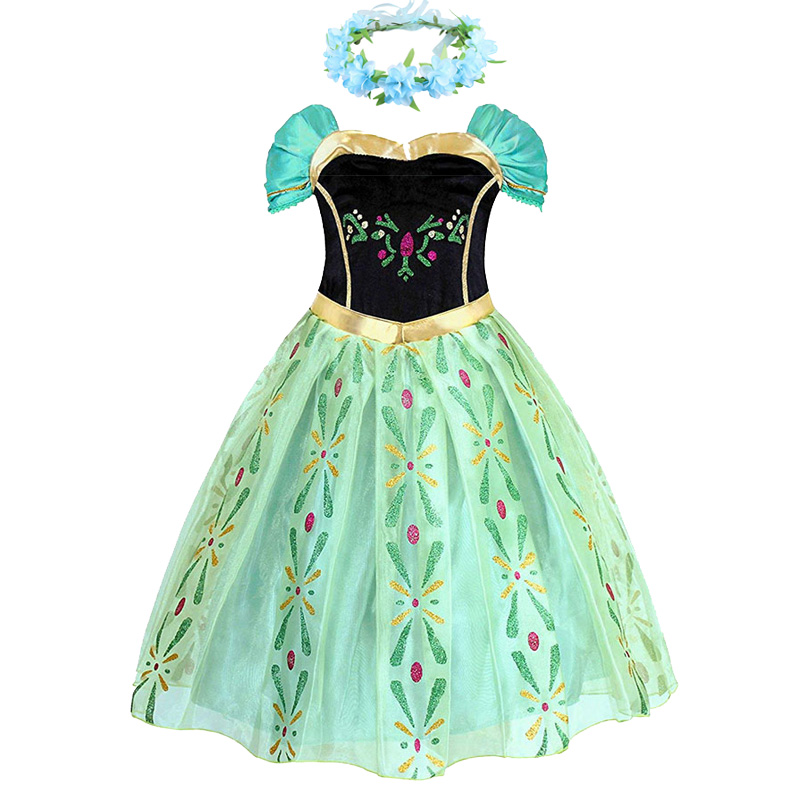 Girls Anna Elsa Elza Princess Dress Kids Costume With Wig Crown Children Snow Queen Halloween Birthday Party Cosplay Fancy Dress