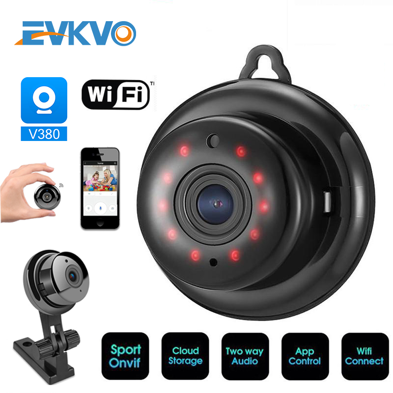 EVKVO Home Security MINI WIFI 1080P IP Camera Wireless Small CCTV Infrared Night Vision Motion Detection SD Card Slot Audio APP
