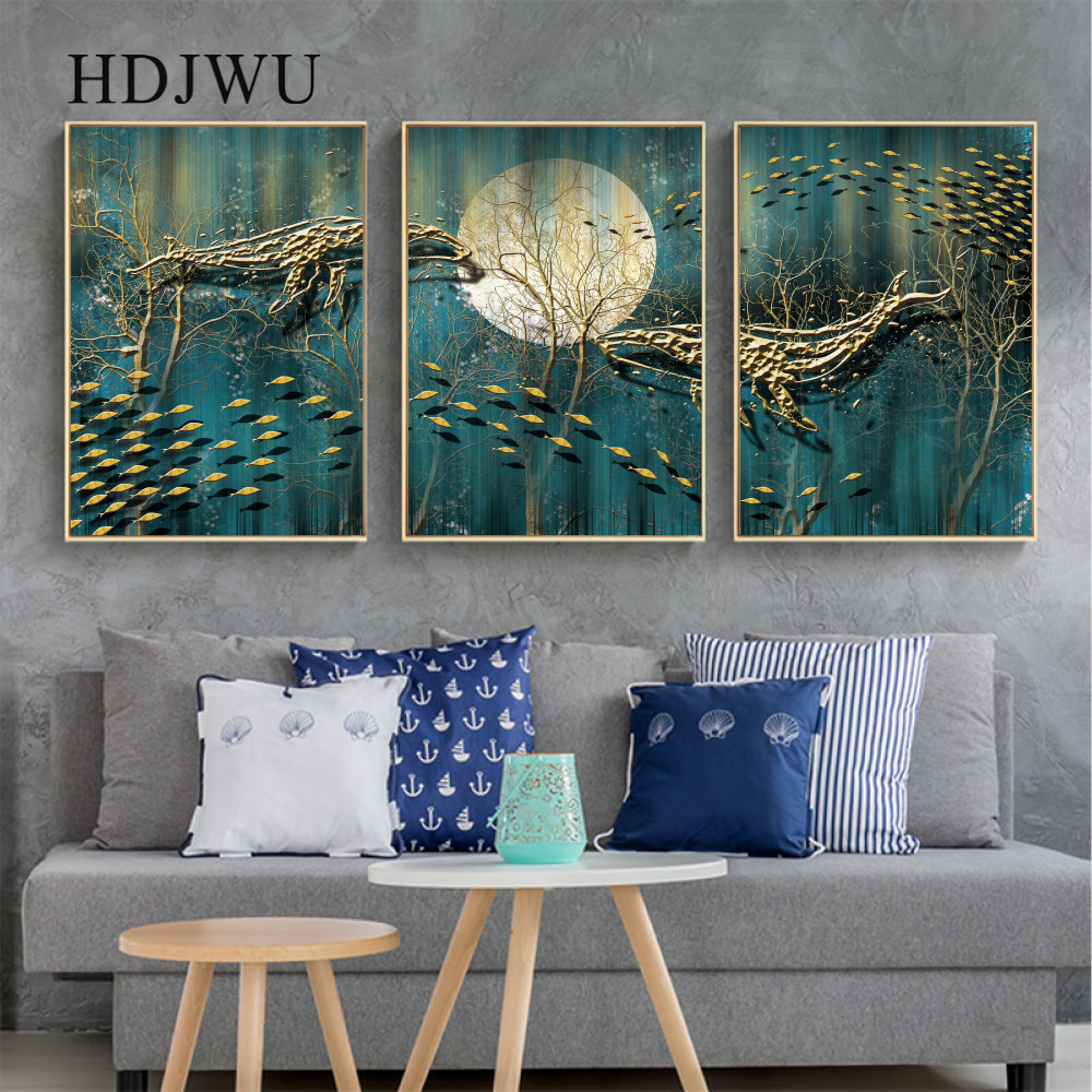 New Chinese Canvas Home Painting Wall Pictures Artstic Forest Aminal Printing Posters for Living Room DJ526