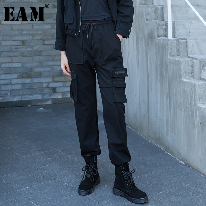 [EAM] High Elastic Waist  Black Long LeisureTrousers New Loose Fit Harem Pants Women Fashion Tide Spring Autumn 2020 1M952