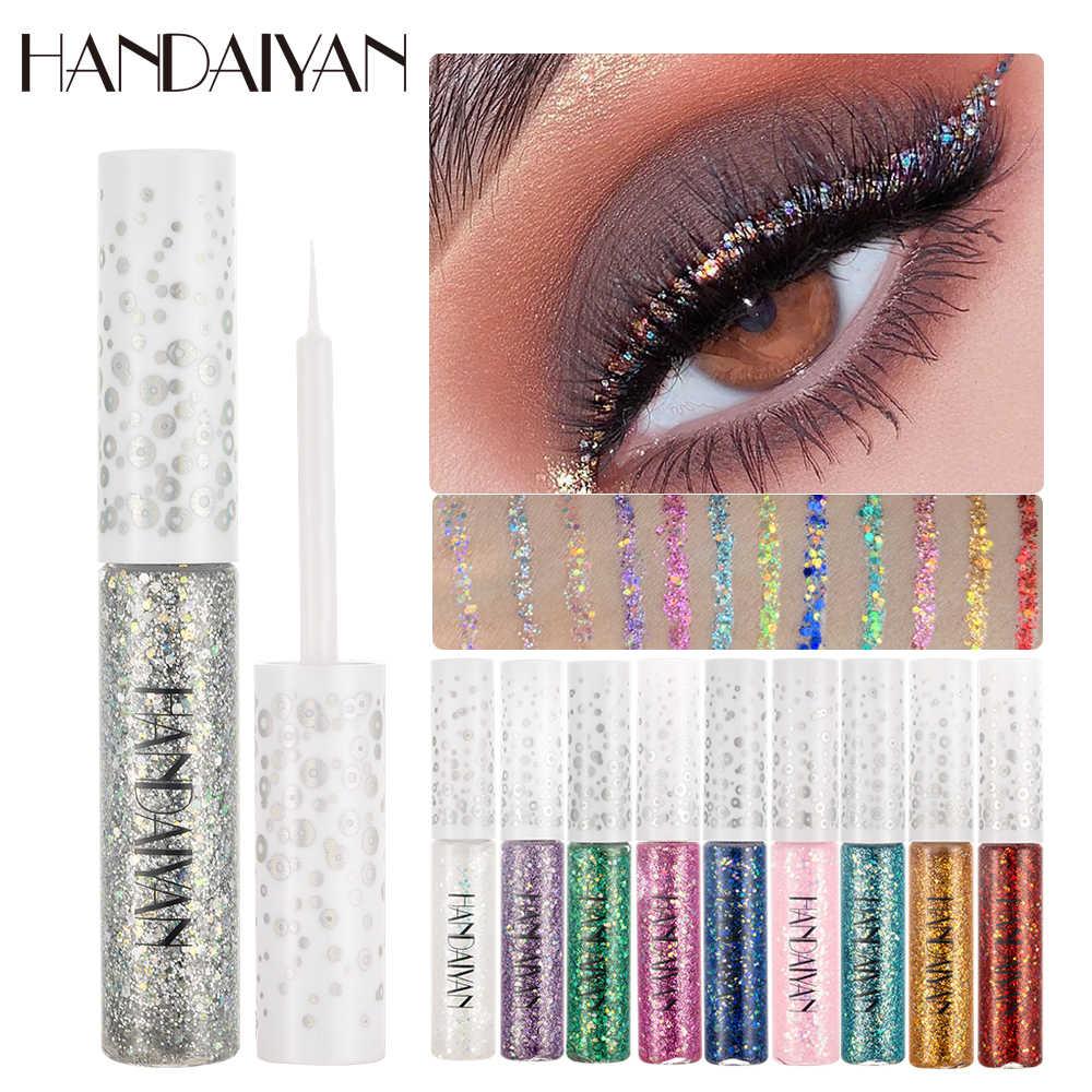 HANDAIYAN płynny brokat Eyeliner błyszczący Eyeliner żel uroda wodoodporny festiwal srebrny złoty Eyeliner makijaż w płynie 12 kolorów