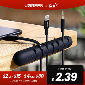 Image 1 - Ugreen Cable Organizer Silicone USB Cable Winder Flexible Cable Management Clips For Mouse Headphone Earphone Cable Holder