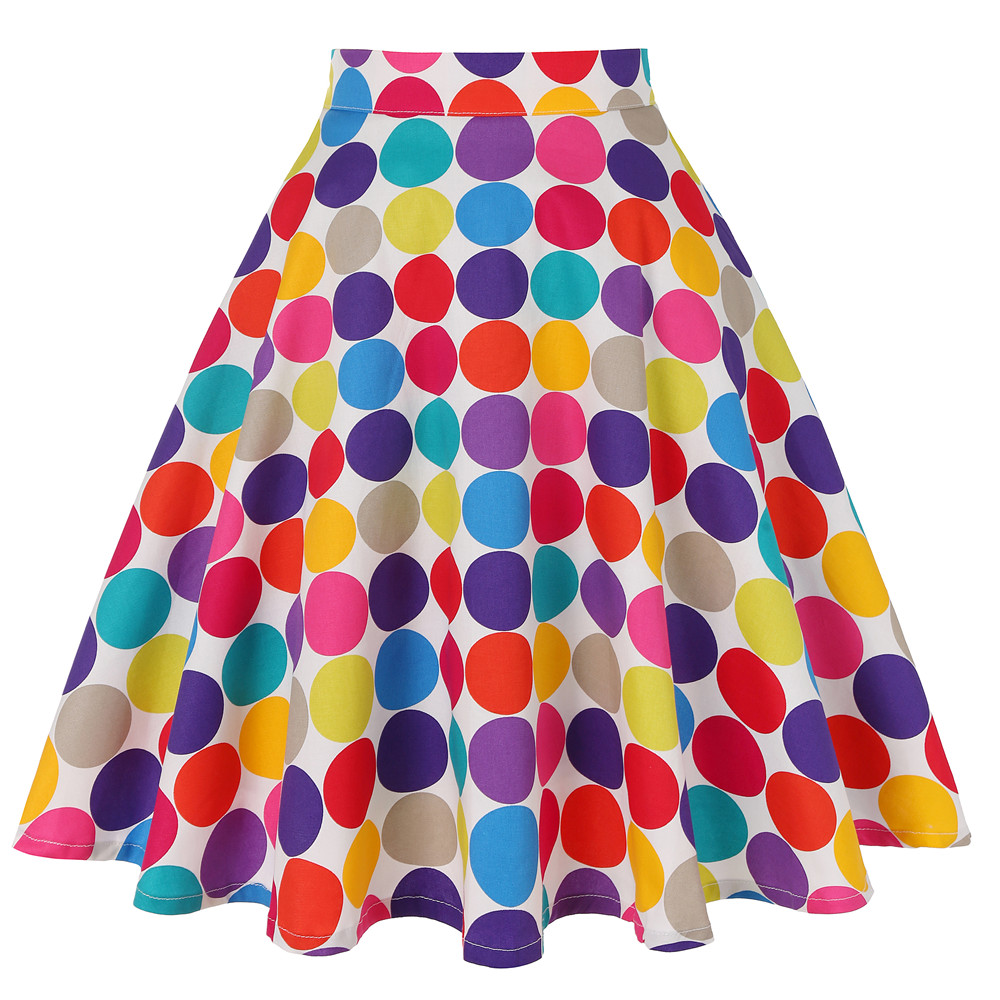 Colorful Polka Dot Printed High Waist Cotton Women Skirt Casual Summer Spring  Big Swing Pin-up 50s Retro Vintage Skirts Women's