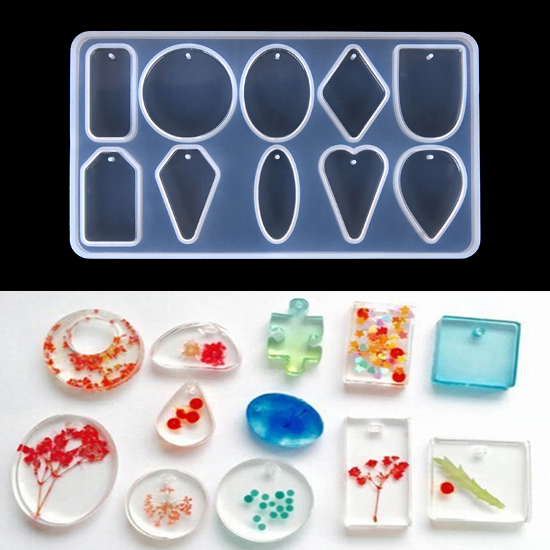 10 DesignsCabochon Silicone Mold Necklace Pendant Resin Jewelry Making Mould DIY Hand Craft Resin Molds For Jewelry