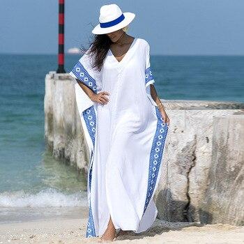 e4b25b62bef2 Nueva llegada playa caftán traje de baño cubierta de gasa estampado Pareo  mujeres traje de baño ...