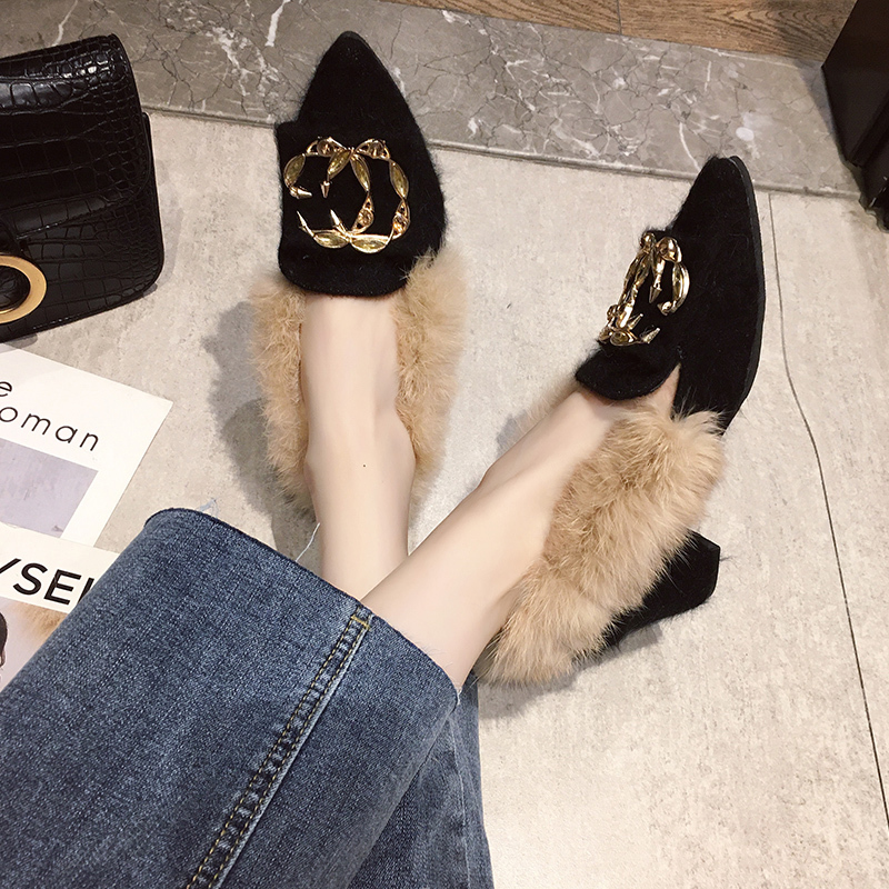 Trendy British Style shoes women women pumps Winter Fur Slides flock pointed toe metal decoration square heels Sleeve Tassel 22