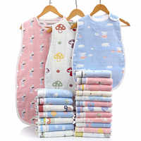 Saco de dormir de algodón de gasa de seis capas para niños, chaleco antipatadas para bebés, Unisex, sin mangas, para dormir