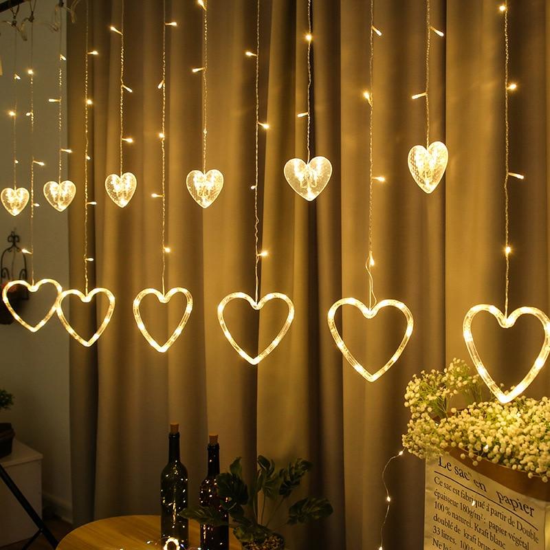 LED String Lights Curtain Fairy Christmas Wedding Party Lamp Bedroom Living Room EU Plug Love Style Decorative Light String