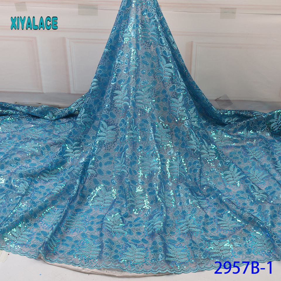Hot Sale African Tulle Lace Fabric 2019 French Nigerian Mesh Net Laces Fabrics With Beads Sequins For Dresses 5yards  YA2957B-1