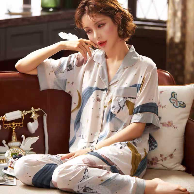 Summer New Ladies Pajamas Set Comfort Loose Cotton Home-wear Stars Printed Women Laarge Size Sleepwear Cardigan+Pants 2Pcs Set