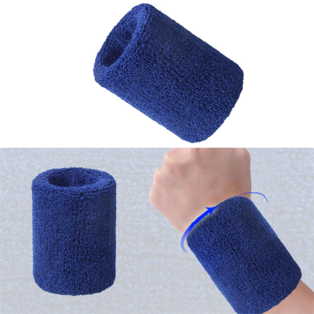 2PCS Cotton Unisex Sport Sweatband Wristband Wrist Protector Running Badminton Basketball Brace Terry Cloth Sweat Band hotA30813