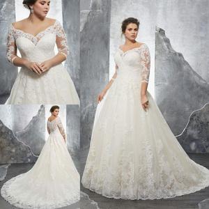 Свадебное платье размера плюс трапециевидной формы с открытыми плечами и коротким рукавом цвета слоновой кости Vestido De Novia, элегантное круже...