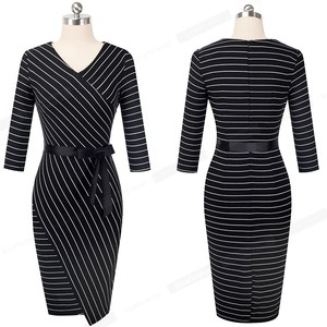 Image 5 - Nice forever Elegant V neck Stripes Office vestidos Business Party Bodycon Autumn Women Dress B548