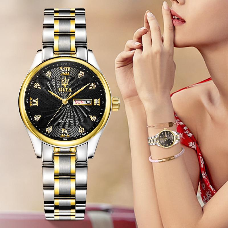 DITAWATCH Women Watches Top Brand Luxury Silver Quartz Movement Waterproof Watches For Women часы женские Zegarki Damskie