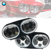 5.75 Projector Dual LED Headlight angel eyes White Halo Ring for motorcycle Road Glide 2004 2013 H4 Headlamp.
