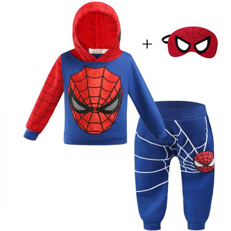 Spiderman/Hoodies Children Red Black 3Pcs Set Boys Kids Sweaters Hoodies Costume Spider Man Cosplay Clothing Birthday Gift