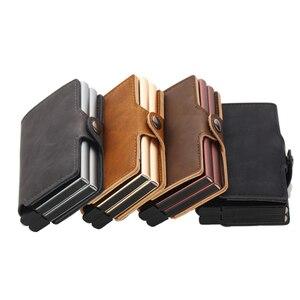 Image 5 - Casekey Anti theft Männer Brieftasche doppel Aluminium Leder Kreditkarte Halter RFID Metall Brieftasche Automatische Pop Up Geldbörse ID karteninhaber