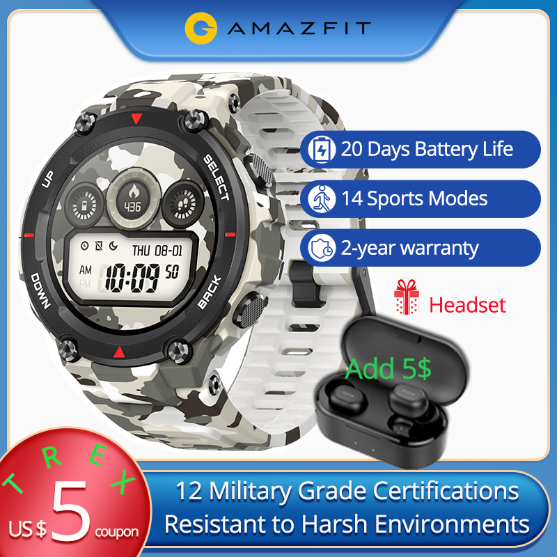 CES Amazfit T-rex High-Precision GPS Dual-Satellite Smart Watch Men 5ATM 14 Sports Modes Fitness Tracker Clock Outdoor Display