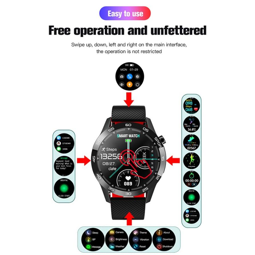 Body Temperature Smart Watch Heart Rate Monitor Health Tracker Weather Forecast Silicone Strap Pedometer Sport Smart Bracelet (2)