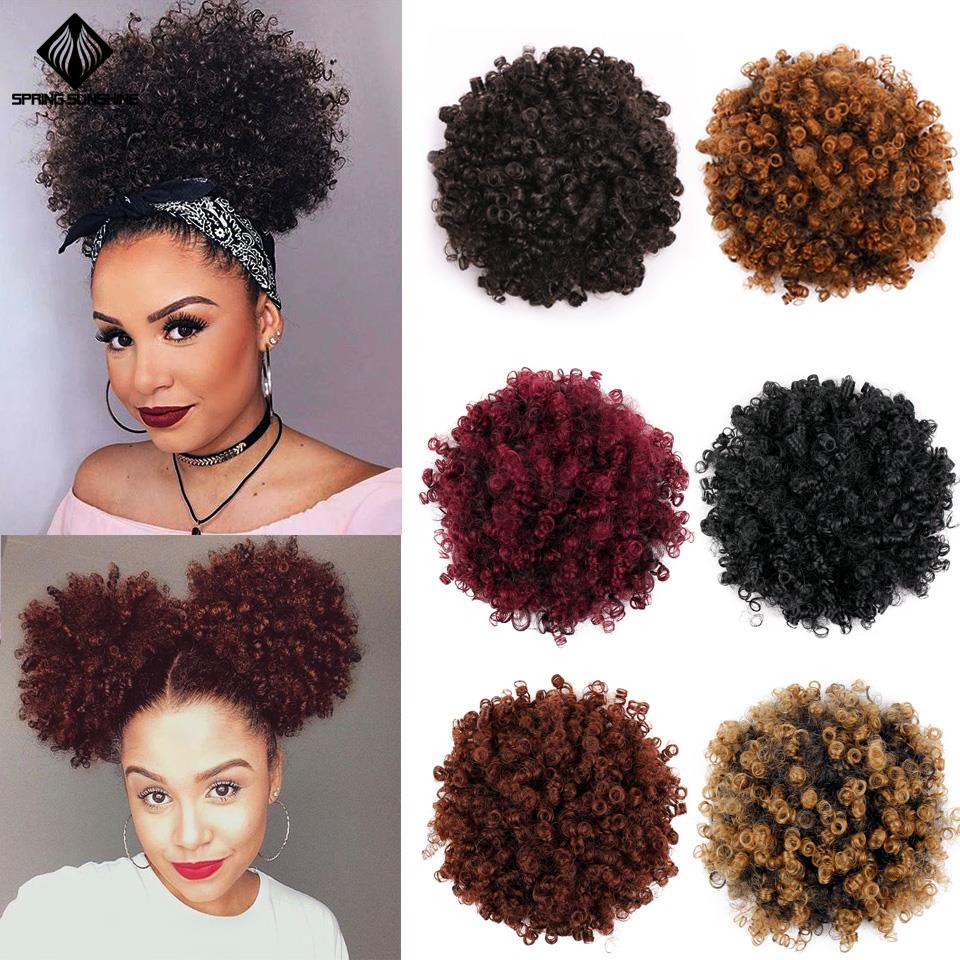 Spring Sunshine Ponytail Puff Afro Curly Hair Bun High Drawstring Short Afro Pony Tail Clip In On Synthetic