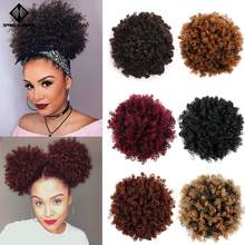 Spring sunshine Ponytail Puff Afro Curly Hair Bun High Drawstring Short Afro Pony Tail Clip in on Synthetic(China)