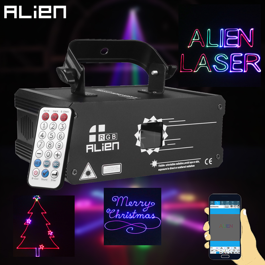 ALIEN RGB Bluetooth APP Remote Animation Laser Projector DMX512 Scanner DJ Disco Party Holiday 500MW 1W 2W Stage Lighting Effect 1