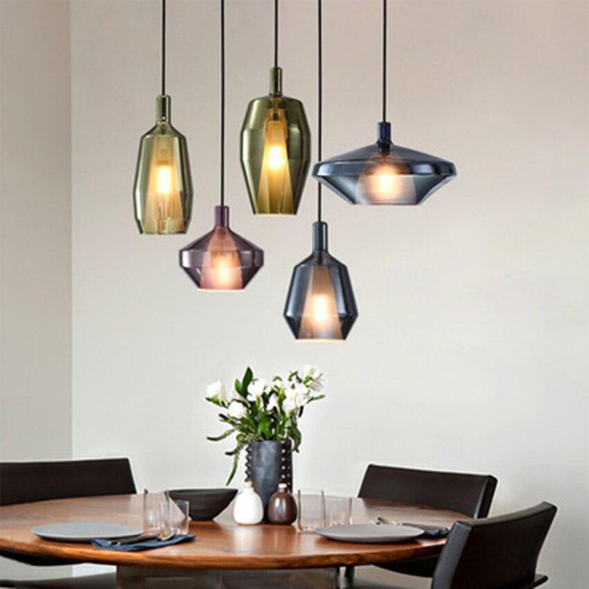 Post-Modern LED Diamond Glass Pendant Lights Lighting Nordic LOFT Restaurant Pendant Lamp Livin Room Indoor Decor Light Fixtures