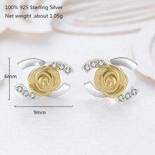 купить Fashion Small Silver Stud Earrings Women Gold Flower and Alphabet Earring for Women 925 Sterling Silver Wedding Earring Jewelry дешево