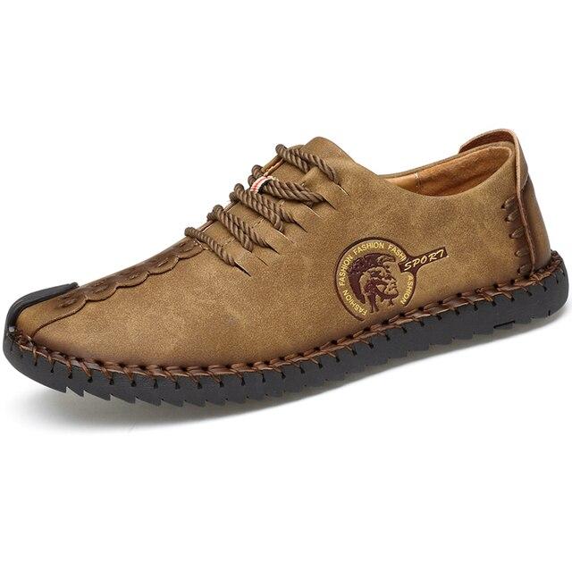 Zapatos informales para hombre mocasines planos de cuero, transpirables, de talla grande, gran oferta