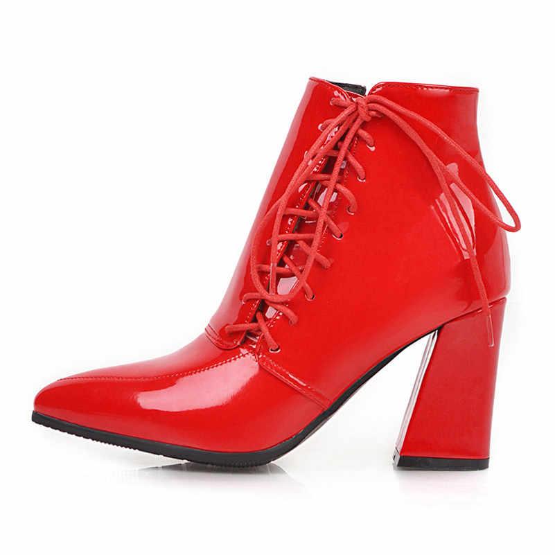 ANNYMOLI hiver bottines femmes en cuir verni talons épais bottes courtes Zip extrême chaussures à talons hauts dames automne rouge taille 34-43