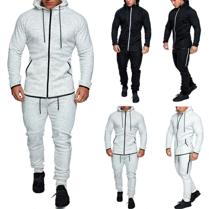 2019 New Men's Hooded Zip Tracksuit Long Sleeve Hoodie Running Jogging Top Pant Set Casual Sports Suits Fashion