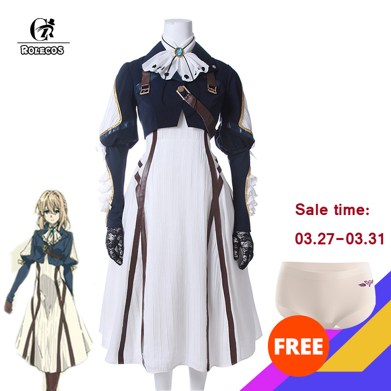 ROLECOS Japanese Anime Violet Evergarden Cosplay Costume Women Cosplay Dress Lolita Dress Adult Cosplay Uniform Full Set