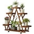 Support de fleur en bois Anti-corrosion étagère de fleur de plancher étagère de viande de balcon de salon en bois massif d'intérieur et extérieur