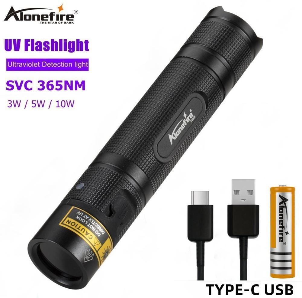 AloneFire SV005 УФ фонарик светильник 365nm ультра фиалки ультрафиолетового Невидимый USB фонарь черный светильник мочи домашних животных с Красител...