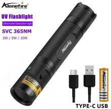 AloneFire lampe torche UV SV005 365nm, lampe torche Ultra violette Invisible USB, lumière noire, détecteur de taches durine danimaux de compagnie Scorpion