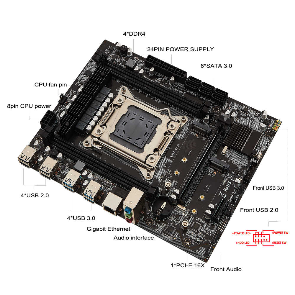 X99 NF LGA 2011-3 Desktop motherboard LGA2011-3 V3 V4 mit dual M.2 NVME slot Unterstützung vier kanäle DDR4 ECC 8 TF SATA 3,0 USB 3,0