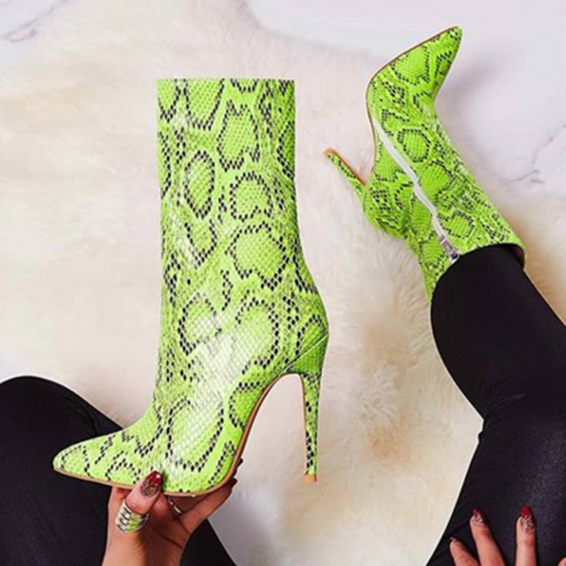 2020 Women 11.5cm High Heels Boots Fetish Stripper Green Serpentine Stiletto Ankle Boots Lay Autumn Snake Print Quality Shoes