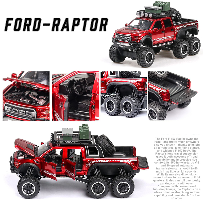 Ford F150 Raptor Pickup Truck Model Car with Sound and Lights 2