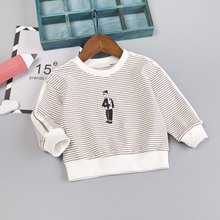 Winter Autumn Peuter Baby Girls Boys Long Sleeve Stripe Cartoon Sweatshirt Kids Casual Shirt Pullover Tops 6-48M