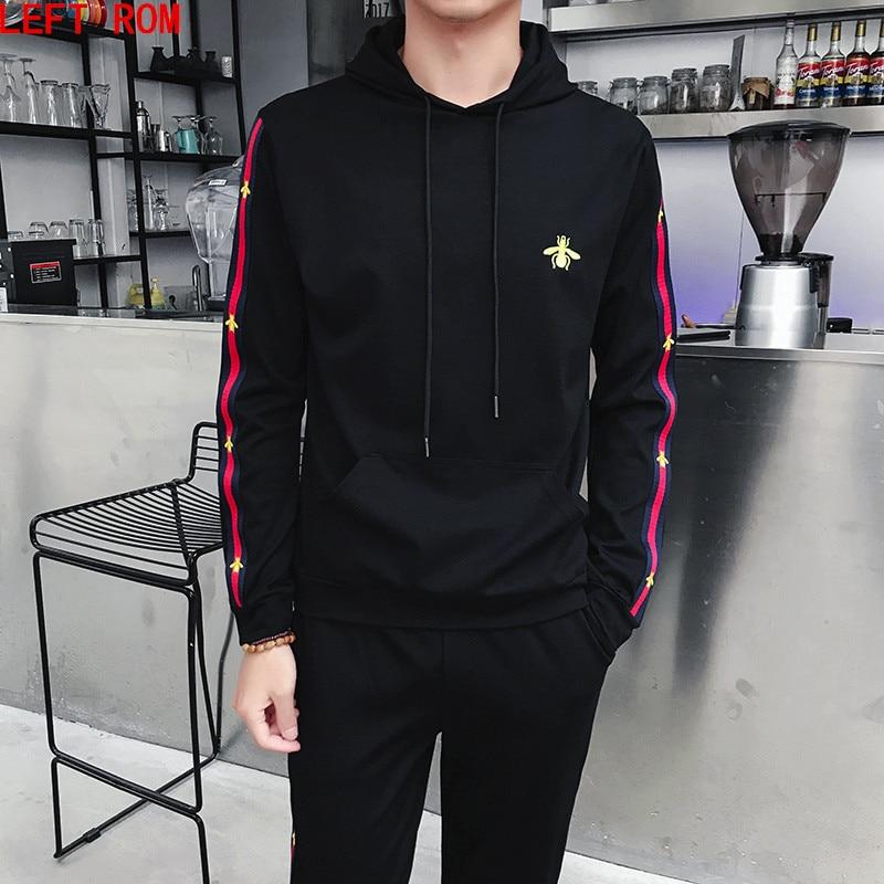 2019 Autumn Mens Track Suit 2 Piece Set Sweatshirt And Joggers Pants Sportsuits Cotton Pullover Hoodies Trouser plus size S 5XL
