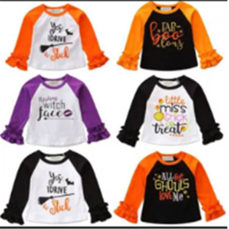 T-Shirt Halloween Tee-Tops Lace-Sleeve Print Autumn Baby-Boy-Girls Cotton Lovely Letter
