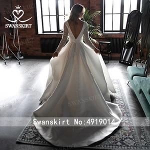 Image 4 - Prachtige Satijn Trouwjurk Swanskirt HZ32 Eenvoudige V hals Lange Mouw A lijn Prinses Bruidsjurk Aangepaste Vestido De Novia