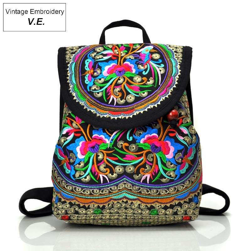 Vintage Embroidery Womens Backpack Ethnic Style Backpack Fashion Flower Embroidered Backpack Travel Shoulder Bag