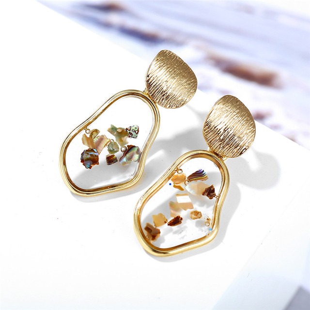 IF ME Fashion Korean Gold Acrylic Shell Drop Earrings for Women Vintage Geometric Sequin Bar Dangle.jpg 640x640 - IF ME Fashion Korean Gold Acrylic Shell Drop Earrings for Women Vintage Geometric Sequin Bar Dangle Earrings 2019 NEW Jewelry