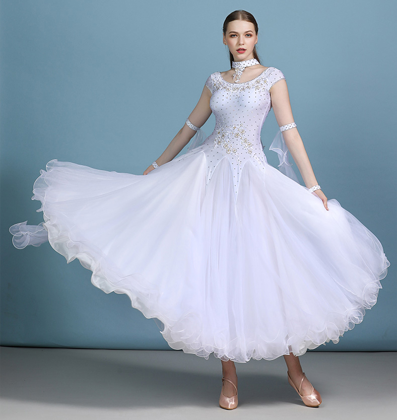 Ballroom Dance Dresses Adult Elegant Sky Blue Waltz Competition Dancing Skirt Lady'S Short Sleeve Tango Ballroom Dance Dress