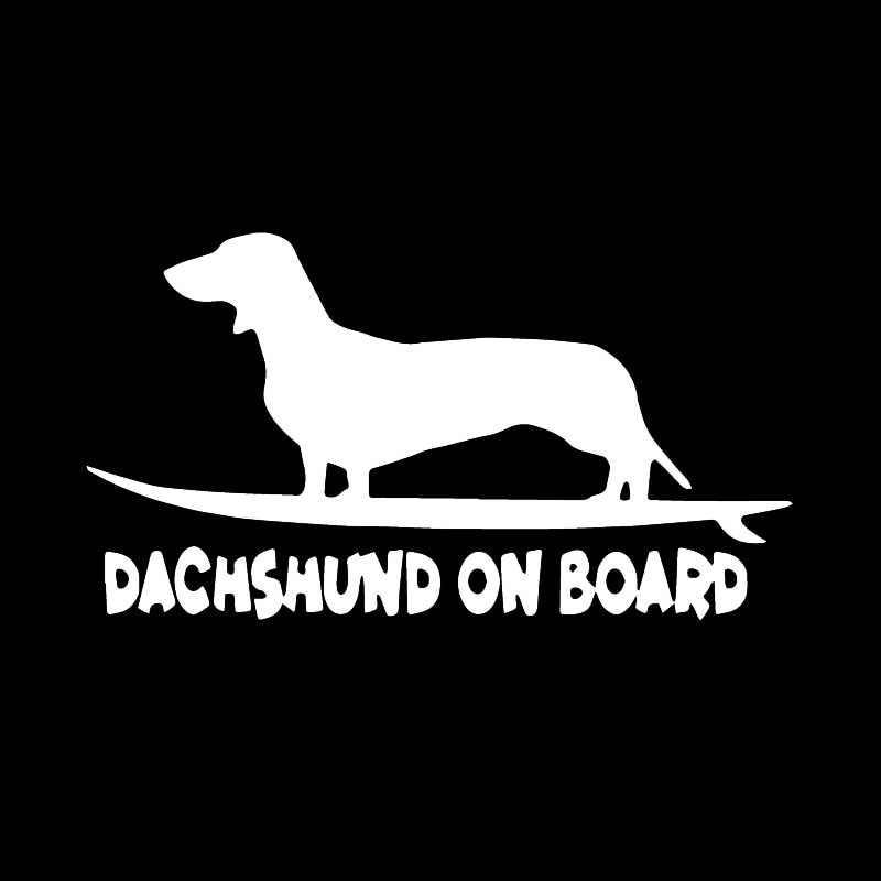 Aliauto drôle voiture autocollant chien vinyle fenêtre décor teckel à bord accessoires créatifs PVC décalque noir/argent, 16cm * 8cm